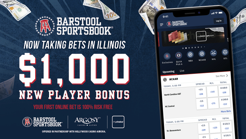 "smartphone with Barstool Sportsbook app, Barstool Sportsbook logo, text ""now taking bets in Illinois / $1,000 / New Player Bonus / Your first online bet is 100% risk free"" / Barstool Sportsbook, Argosy Alton & mychoice logos / Offered in partnership with Hollywood Casino Aurora"