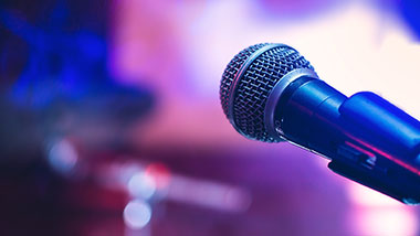 Live entertainment microphone on stage at Argosy Casino Alton.