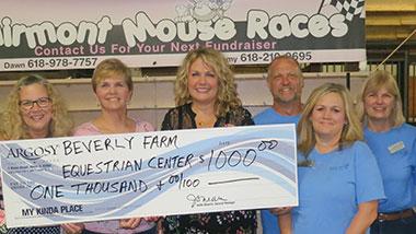 Argosy Casino Alton donated $1,000 to Beverly Farms Equestrian Center.